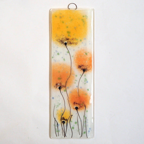 Orange flowers fused glass art - Fired Creations