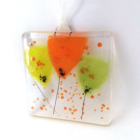 Orange flowers mini glass wall art suncatcher - Fired Creations