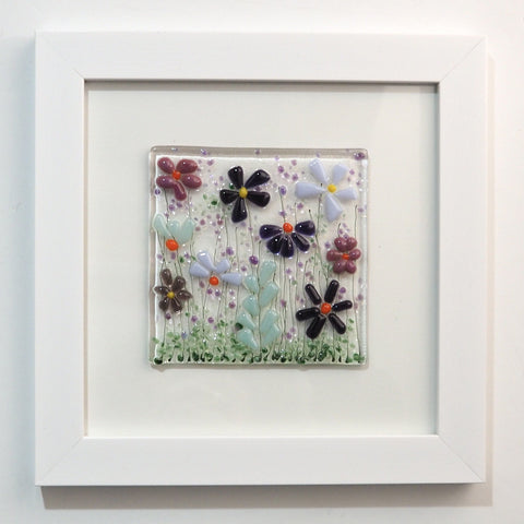 Fused Glass Wall Art - Purple Flowers Framed Glass Art