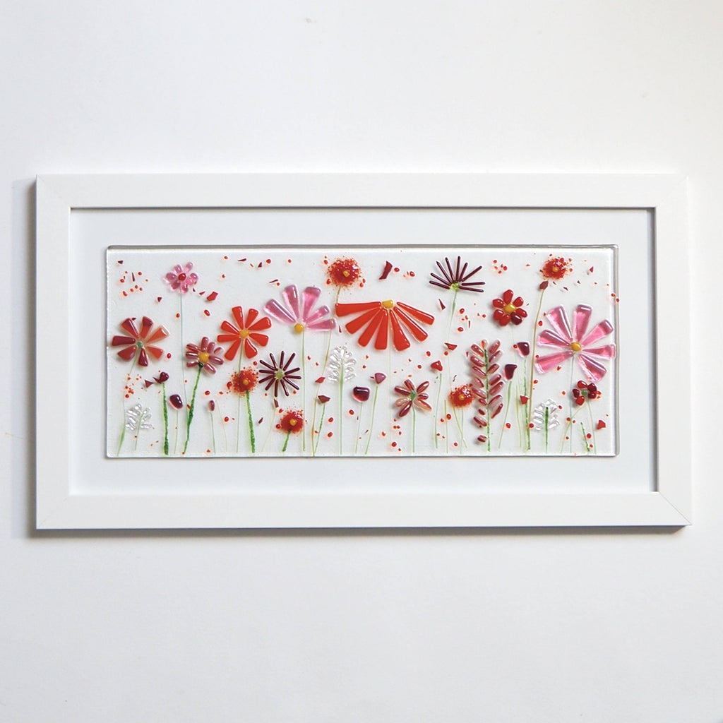 Fused Glass Wall Art - Red Flowers Framed Glass Art