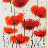 Red poppy flowers fused glass art panel - Fired Creations