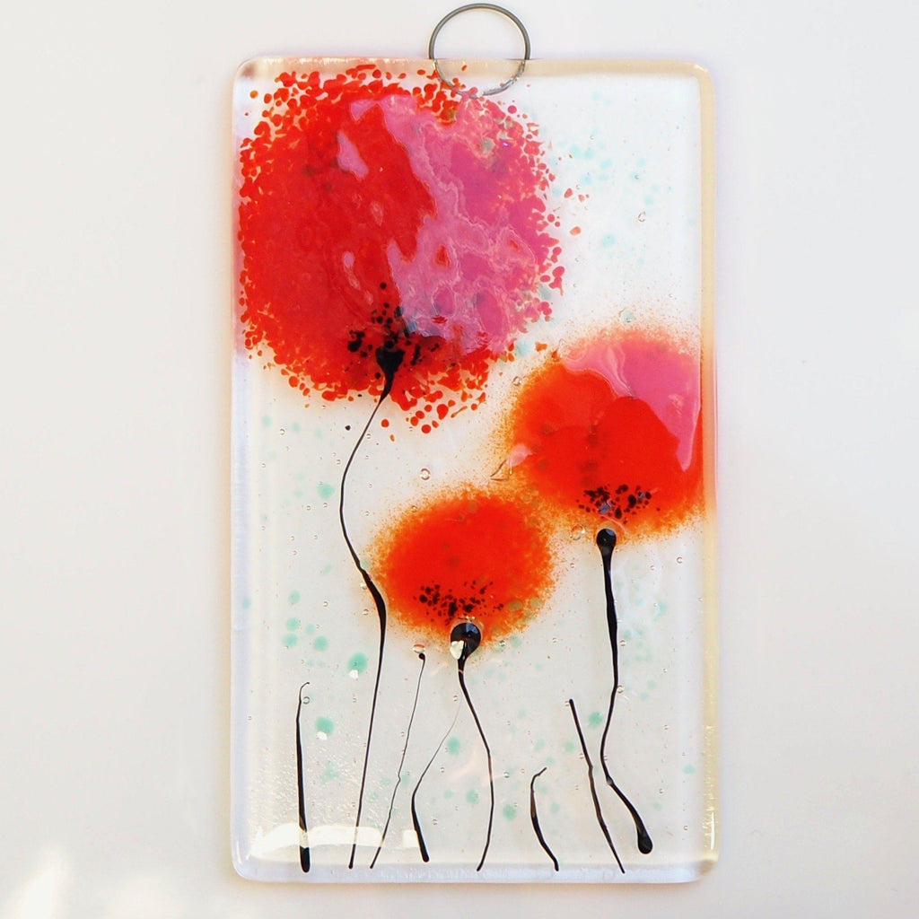 Red poppy flowers fused glass wall art sun-catcher - Fired Creations