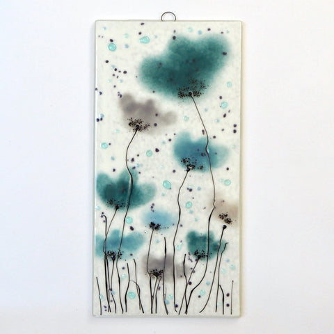 Sea blue and grey flowers fused glass art panel - Fired Creations