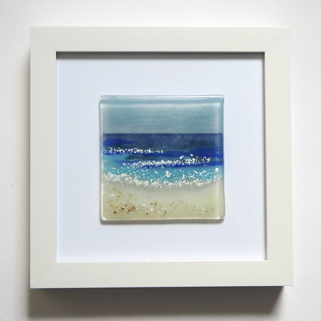 Fused Glass Wall Art - Seascape Framed Glass Art Picture
