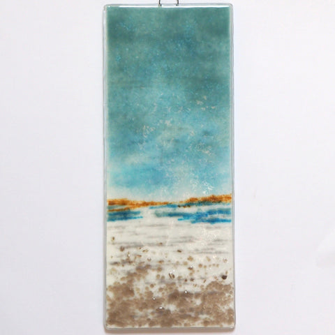 Tide out - seascape fused glass wall art panel - Fired Creations