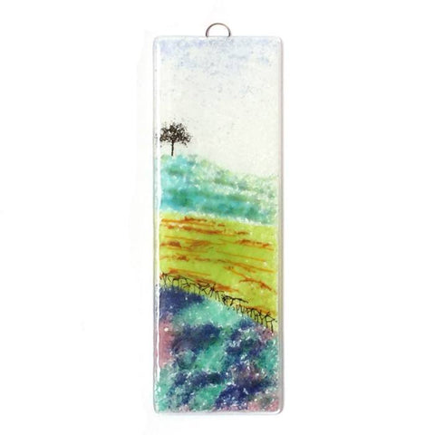 Tree on the hill fused glass wall art - Fired Creations