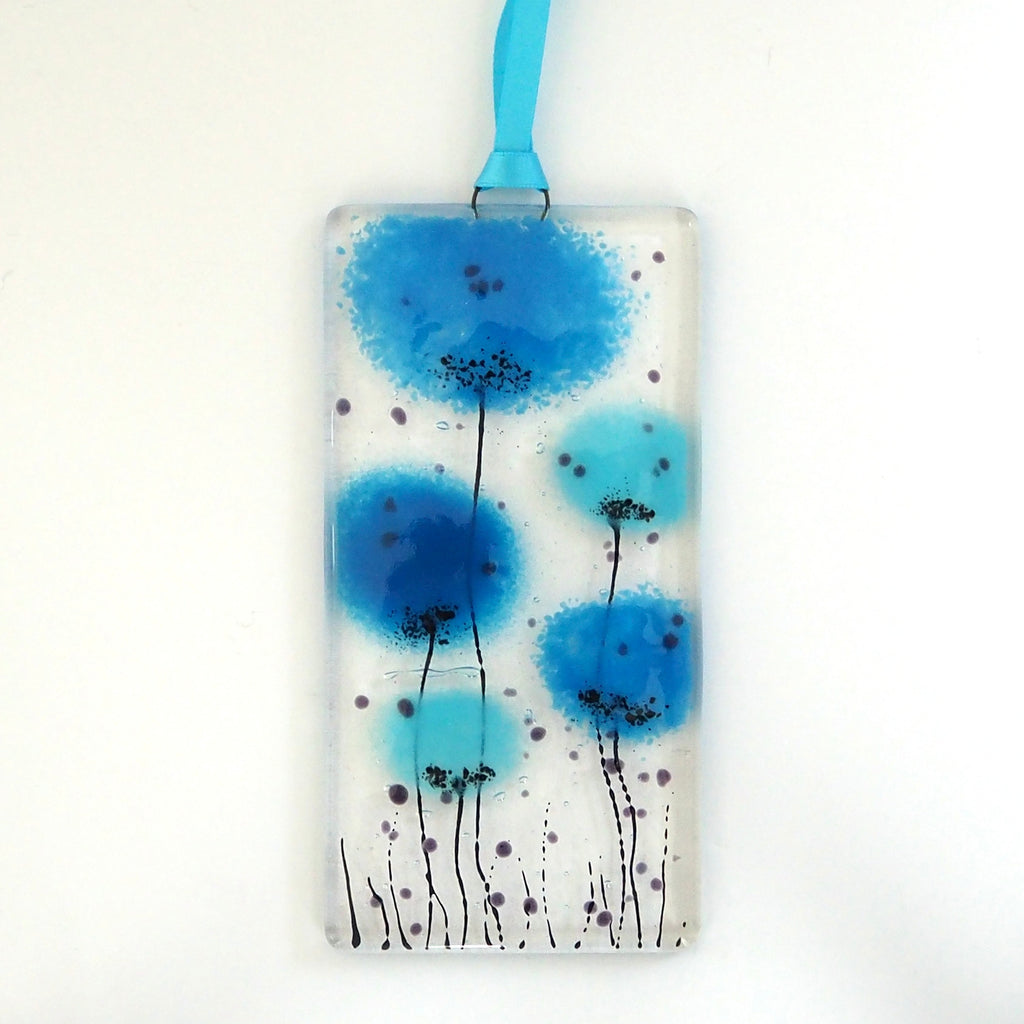 Turquoise blue flowers fused glass wall art sun-catcher - Fired Creations