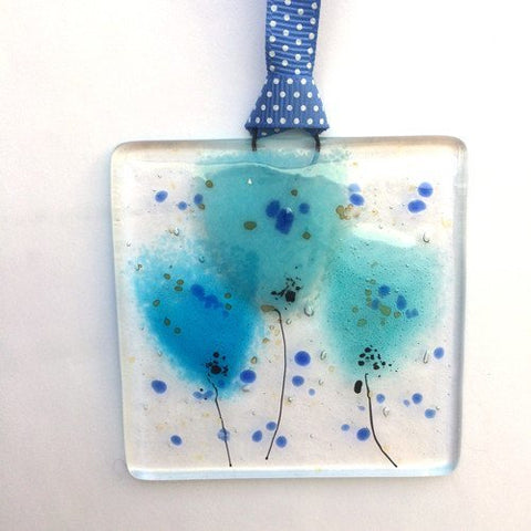 Turquoise flowers mini glass wall art suncatcher - Fired Creations