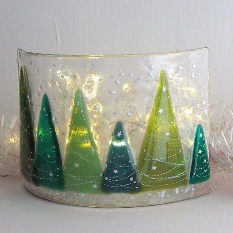 Candle screen - row of fused glass Christmas trees - Fired Creations