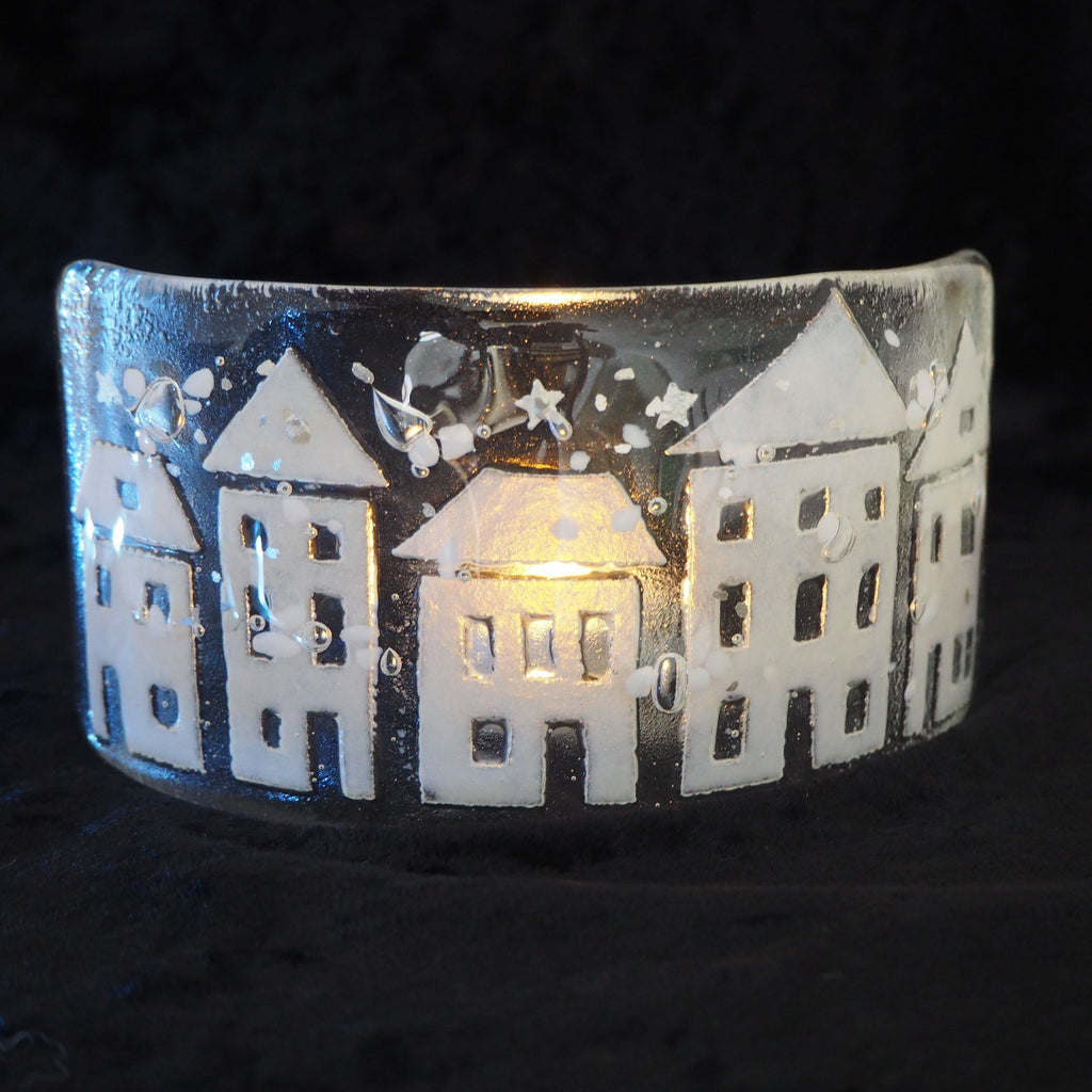 Candle screen - row of fused glass snowy houses - Fired Creations