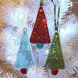 Glass Art - Christmas Decoration - Red, Green And Aqua Tree