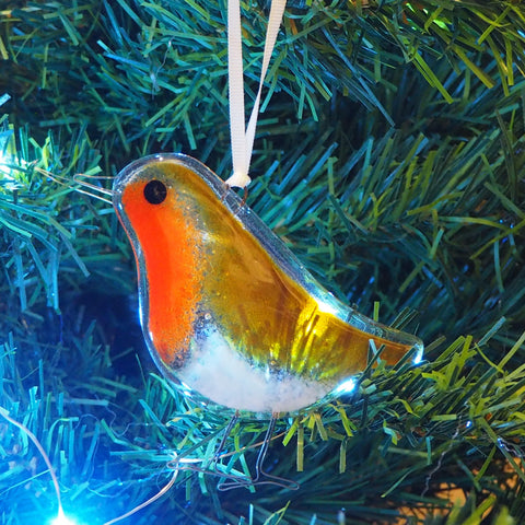 Glass Art - Christmas Robin Tree Decoration