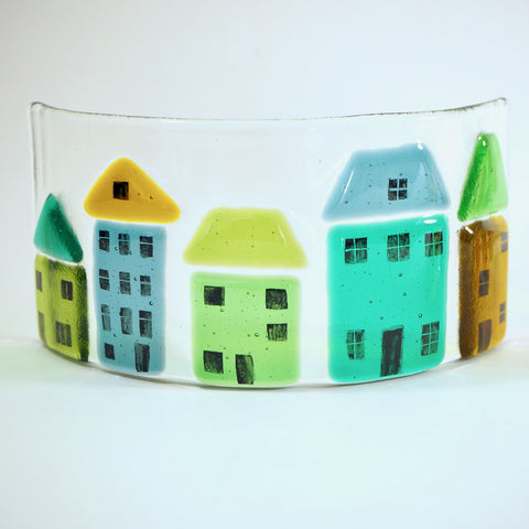 Fused Glass Candle Screen - Green and Gold Houses - Fired Creations