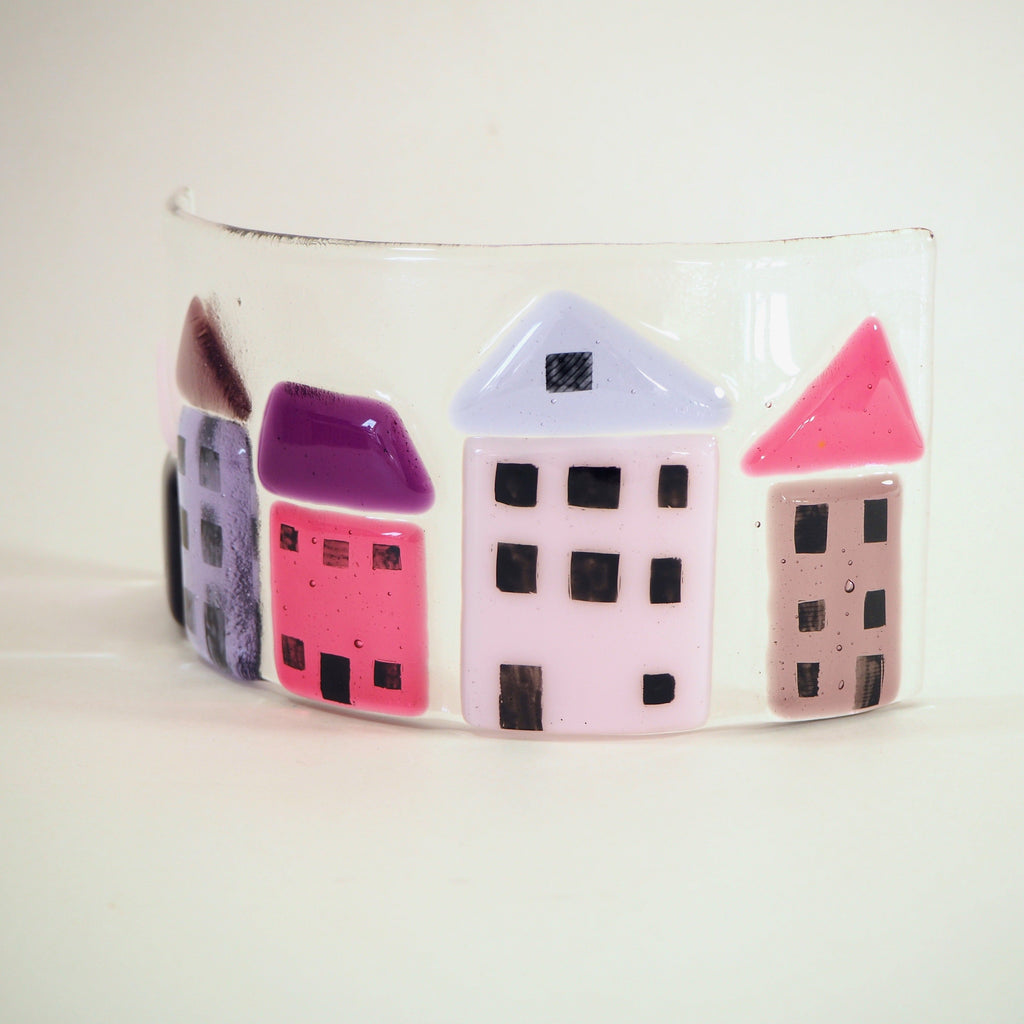 Fused Glass Candle Screen - Pink and Purple Houses - Fired Creations
