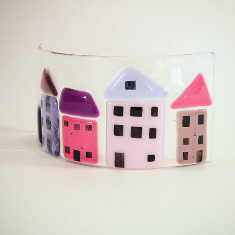 Fused Glass Candle Curve - Pink and Purple Houses - Fired Creations