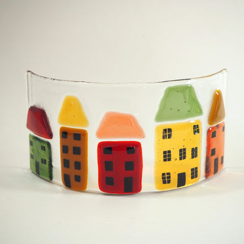 Fused Glass Candle Screen - Red, Green and Gold Houses - Fired Creations