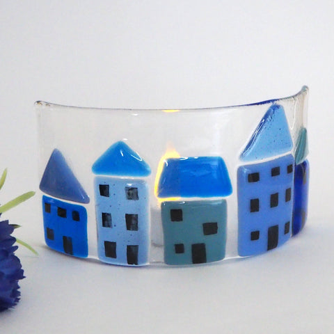Fused Glass Candle Screen - Blue Houses - Fired Creations