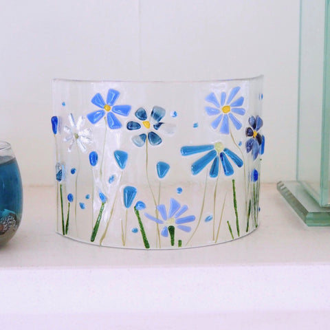 Glass Art - Fused Glass Curve - Blue Flowers