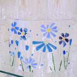 Fused Glass Curve - Blue Flowers - Fired Creations