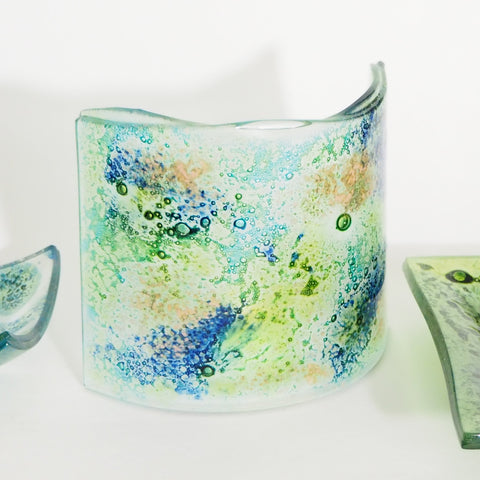 Glass Art - Fused Glass Curve - Bubbles Of Green, Turquoise And Blue