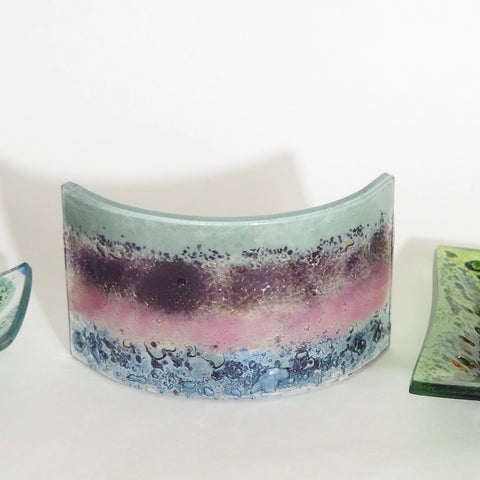 Glass Art - Fused Glass Curve - Candle Screen - Abstract Grey, Pink And Violet