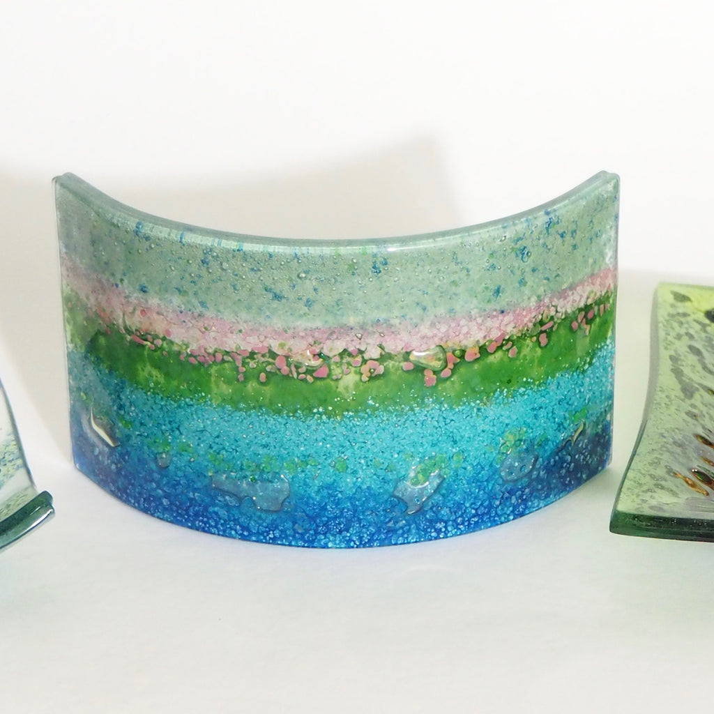 Fused Glass Curve - Candle Screen - Abstract turquoise, pink and blue - Fired Creations