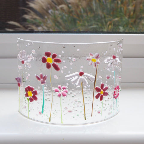 Fused Glass Curve - Pink Flowers - Fired Creations