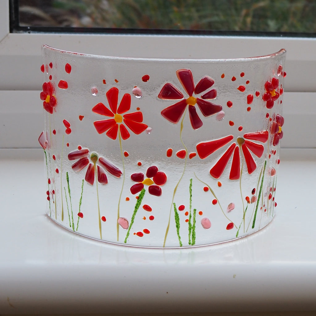 Fused Glass Curve - Red Flowers - Fired Creations