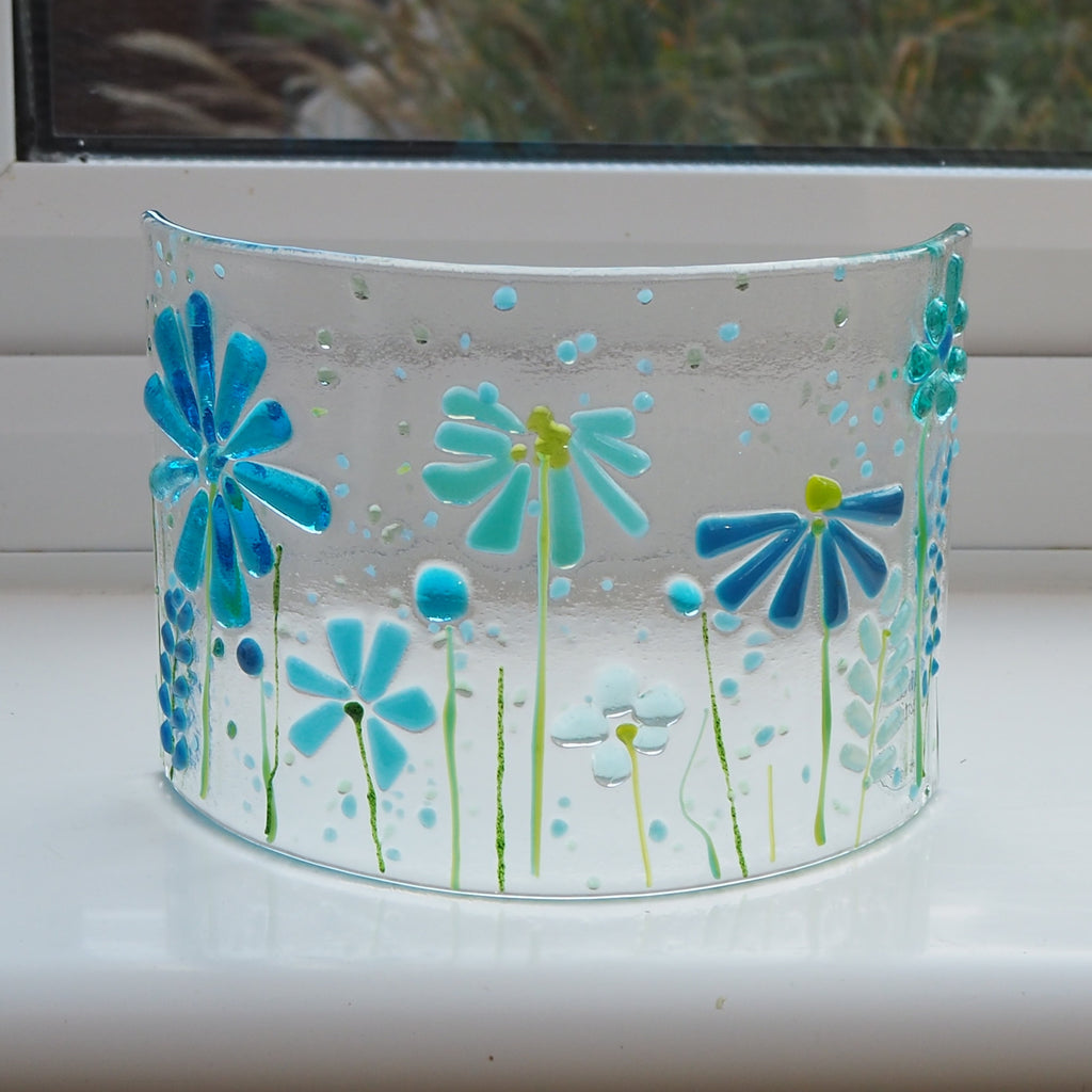 Glass Art - Fused Glass Curve - Turquoise Flowers