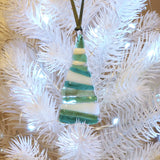 Glass Art - Green And White Christmas Tree Decoration