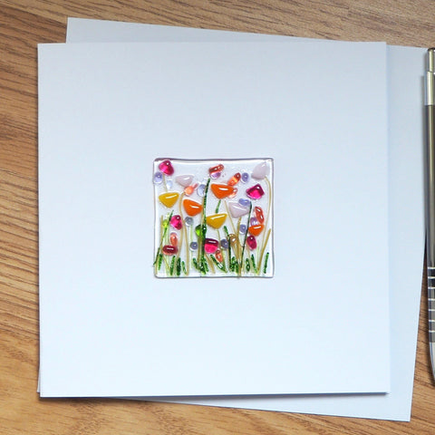 Multicolour Flowers Fused Glass Greetings Card