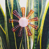 Orange and pink flower stake - Fired Creations