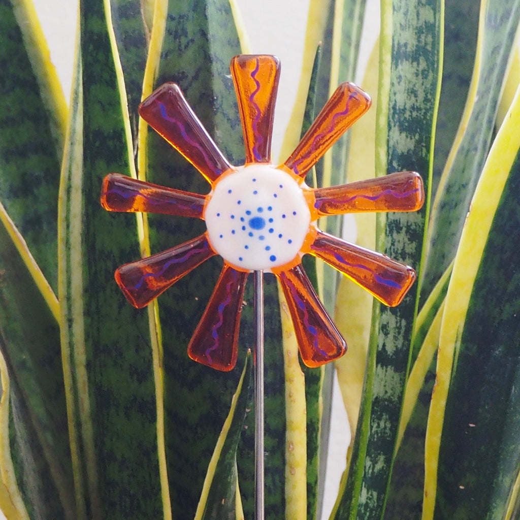 Orange and white flower stake - Fired Creations