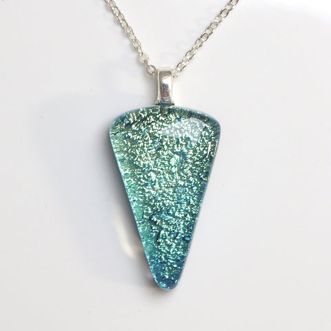 Pendant - Aqua Blue Wedge Shaped Glass Pendant Necklace