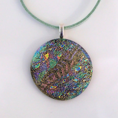 Aqua, copper and peach round fused dichroic glass pendant - Fired Creations