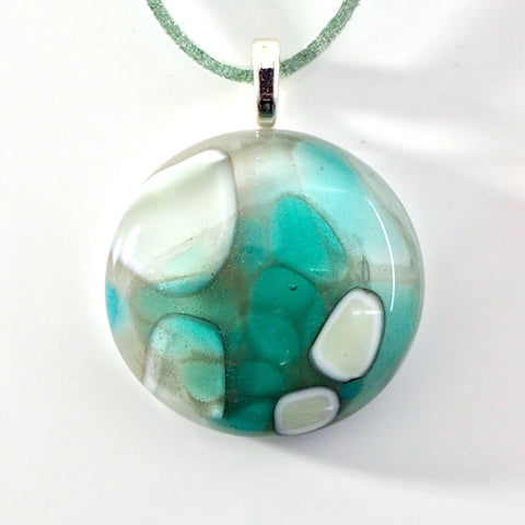 Aqua turquoise blue round fused glass pendant necklace - Fired Creations