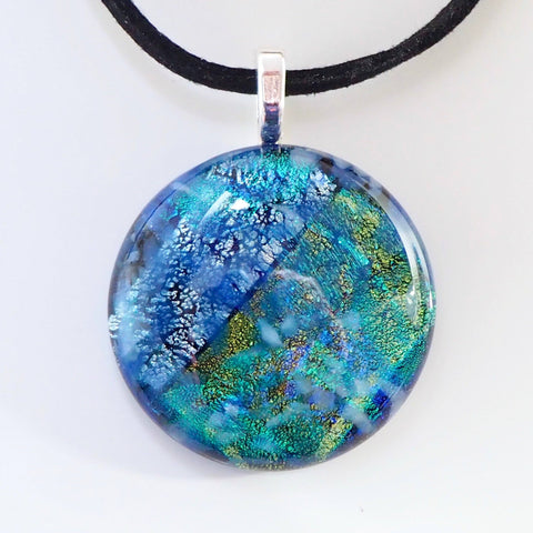 Blue and green round fused dichroic glass pendant - Fired Creations