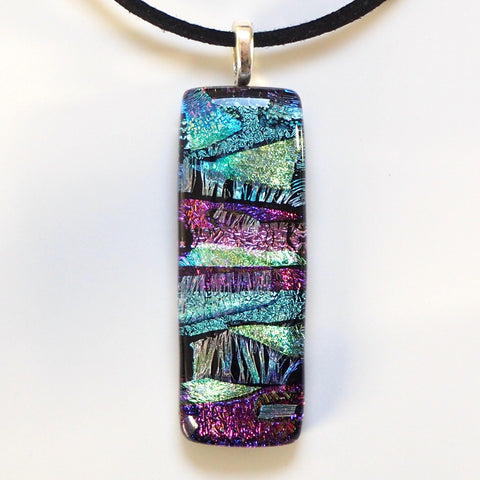 Blue and pink fused dichroic glass pendant - Fired Creations