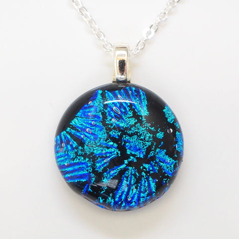 Blue fused glass pendant necklace - Fired Creations
