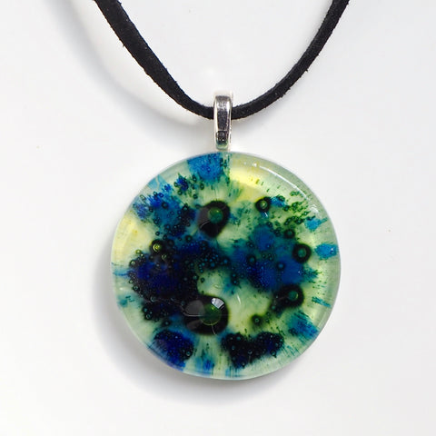 Blue green and yellow round fused glass bubble pendant - Fired Creations