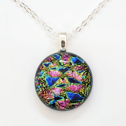 Blue green pink fused glass pendant necklace - Fired Creations
