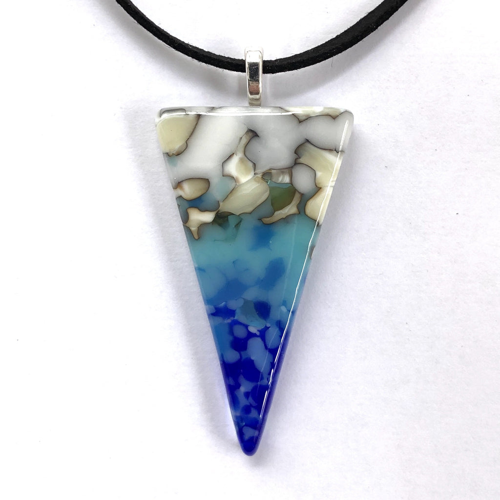 Blue grey fused glass pendant necklace - Fired Creations