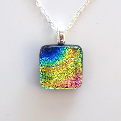 Blue, lime, gold and pink dichroic glass mini pendant - Fired Creations