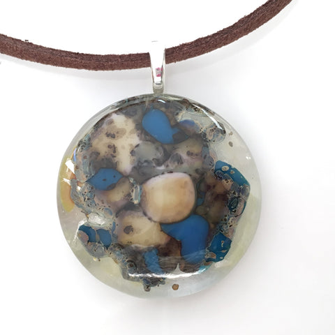 Brown and blue stone effect fused glass pendant - Fired Creations