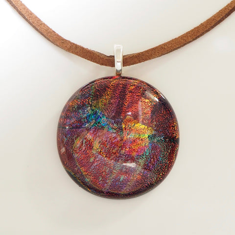 Copper, bronze, turquoise round fused dichroic glass pendant - Fired Creations