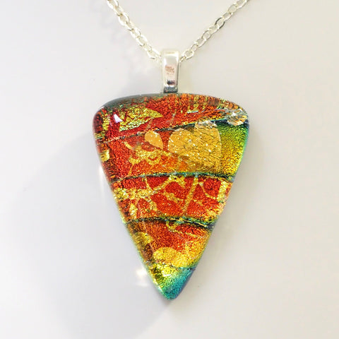 Copper orange and aqua fused dichroic glass pendant - Fired Creations