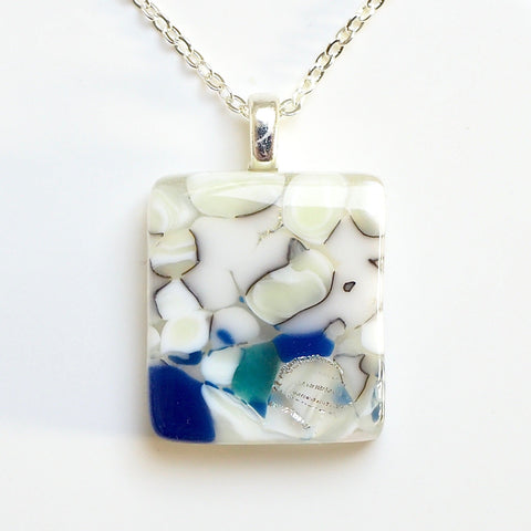 Cream navy and aquamarine fused glass pendant necklace - Fired Creations