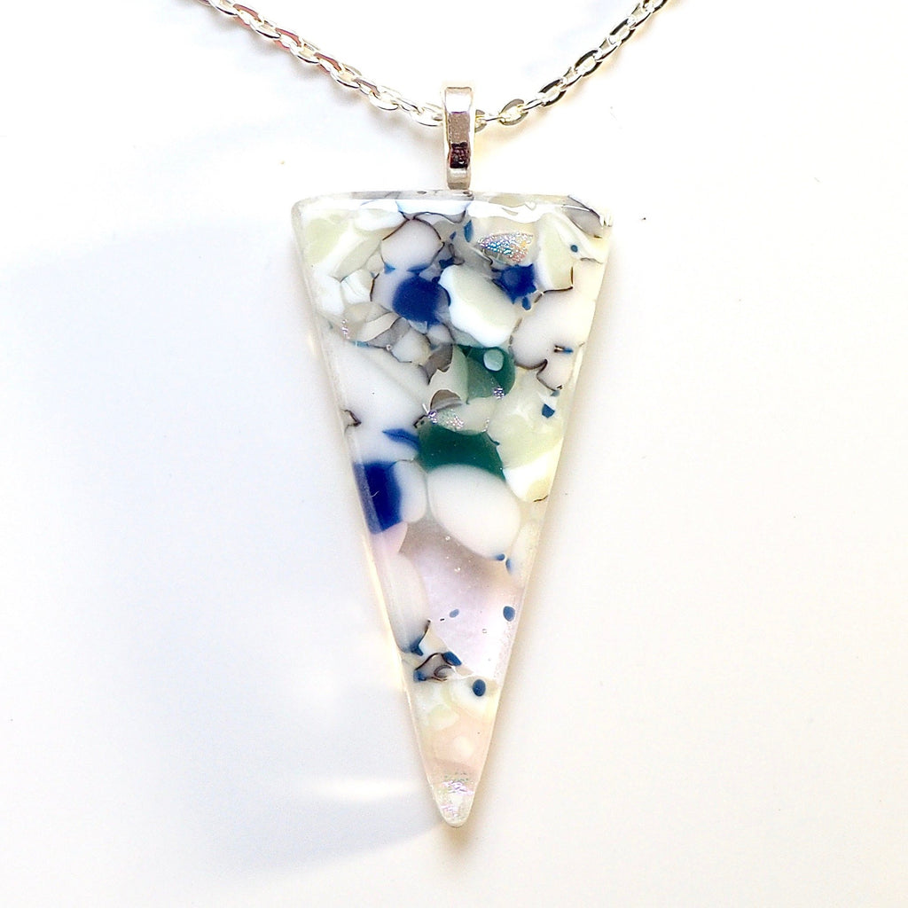 Cream navy and pink stone effect fused glass pendant necklace - Fired Creations