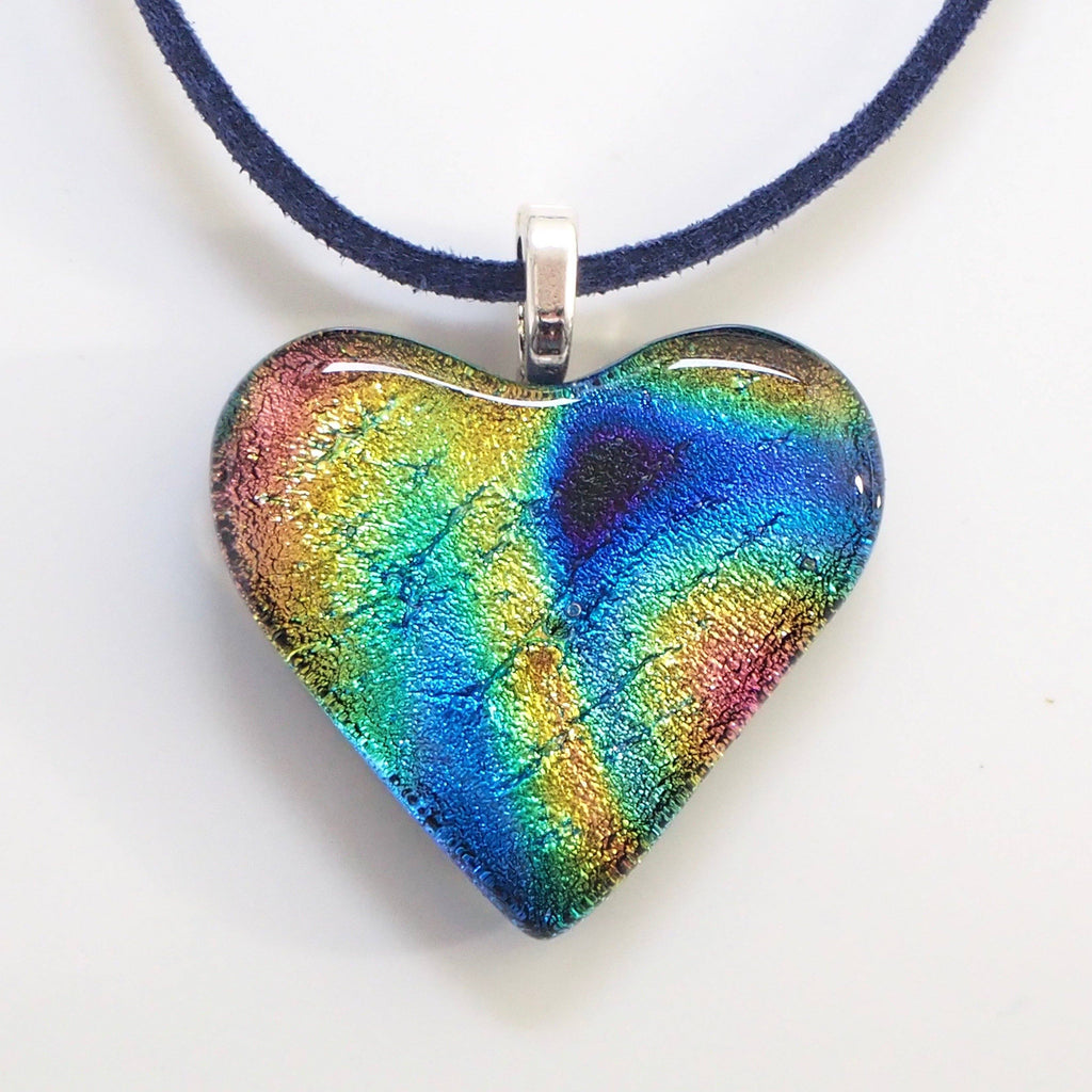 Dichroic glass heart pendant - blue gold - Fired Creations