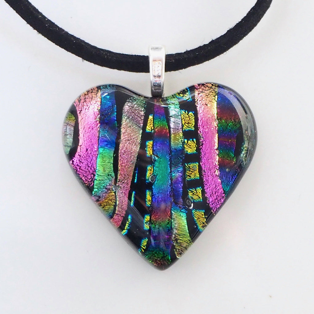 Dichroic glass heart pendant - pink blue - Fired Creations
